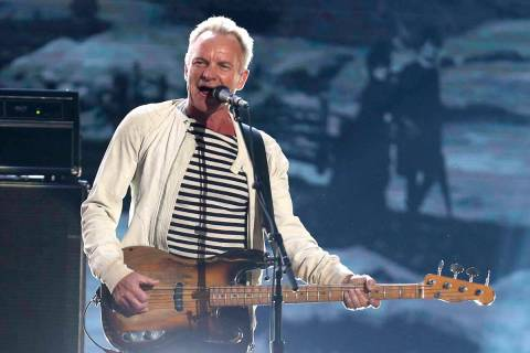 Sting performs at the 60th annual Grammy Awards in New York, Jan. 28, 2018. (Matt Sayles/Invisi ...