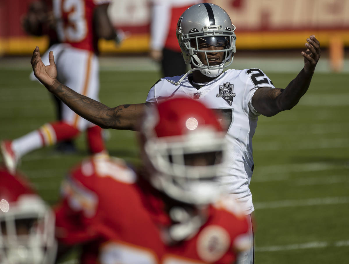 Las Vegas Raiders cornerback Trayvon Mullen (27) taunts Chiefs players during warms ups before ...