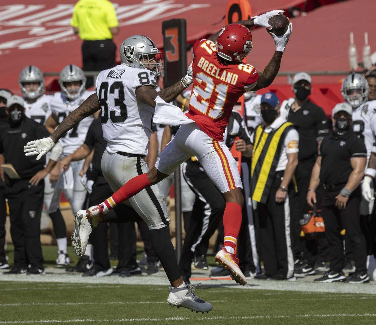 Kansas City Chiefs cornerback Bashaud Breeland (21) intercepts a pass intended for Las Vegas Ra ...