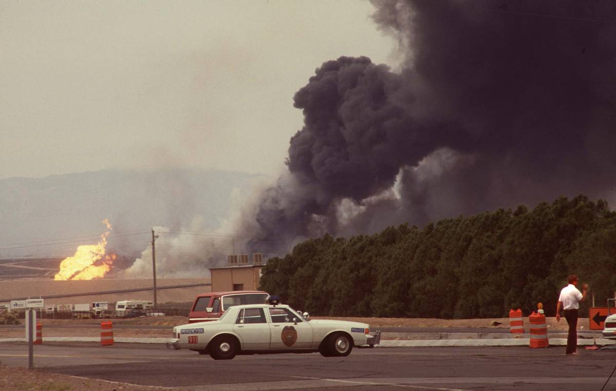 In this May 4, 1988, file photo, black smoke billows from the Pacific Engineering Production Co ...