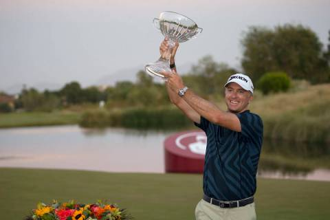 Martin Laird celebrates after winning the final round of the 2020 Shriners Hospitals for Childr ...