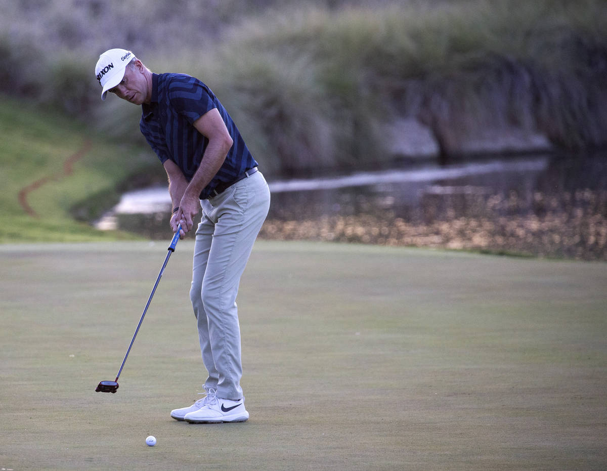 Martin Laird makes the winning putt on the 17th hole during a playoff in the final round of the ...
