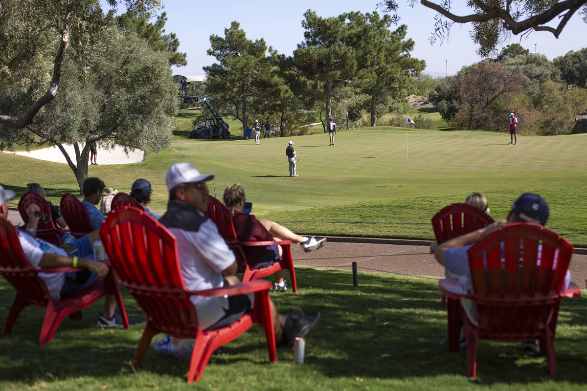 A small audience watches the final round of the 2020 Shriners Hospitals for Children Open from ...