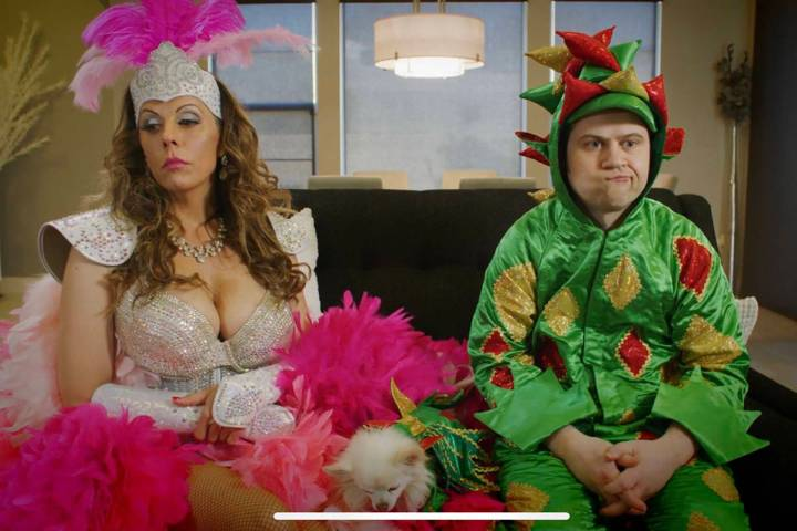 Showgirl Jade Simone and Piff the Magic Dragon is shown in a screen-grab in a promotional video ...