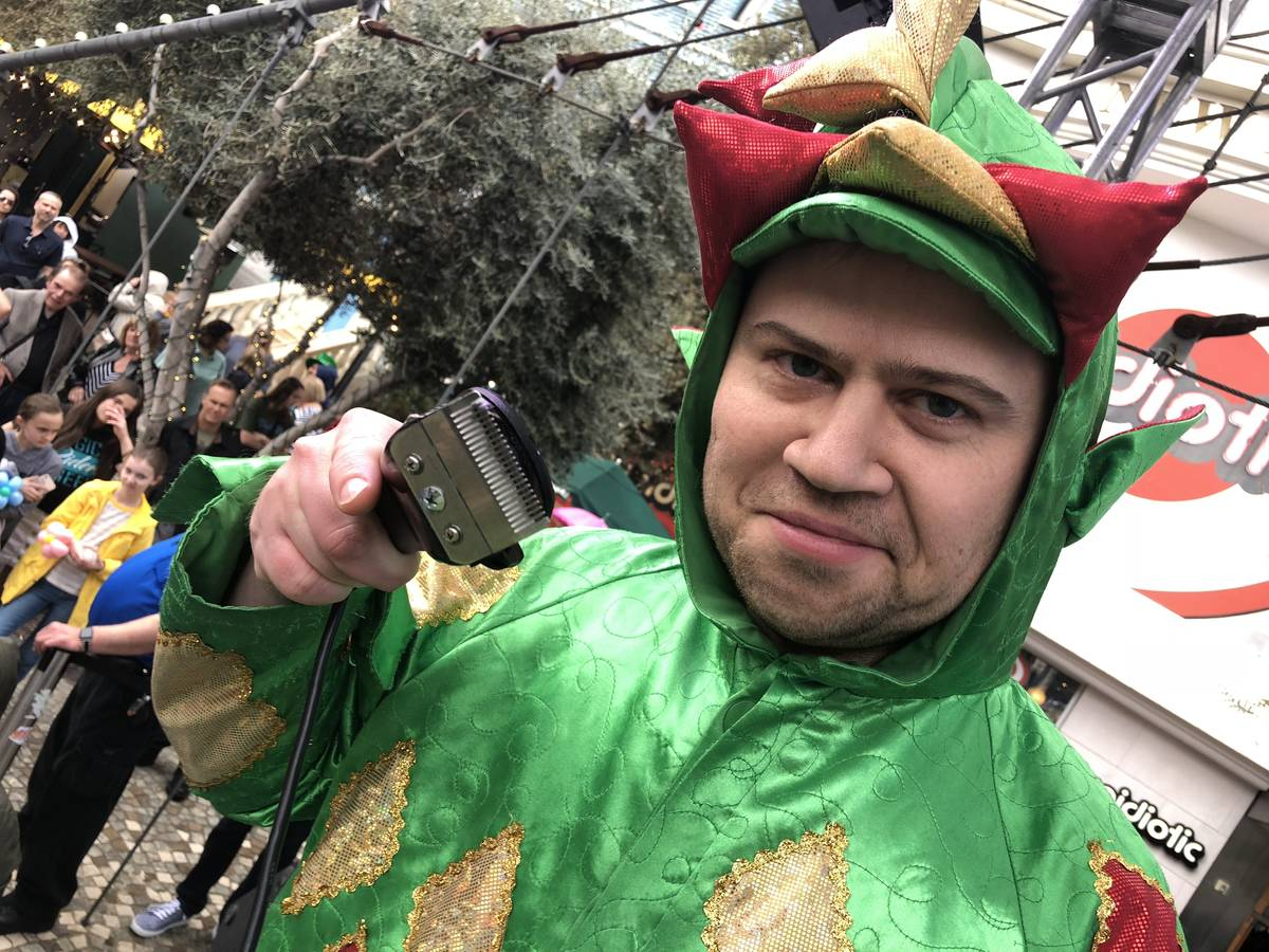 Piff the Magic Dragon means business at the St. Baldrick's shave-a-thon at New York-New York on ...