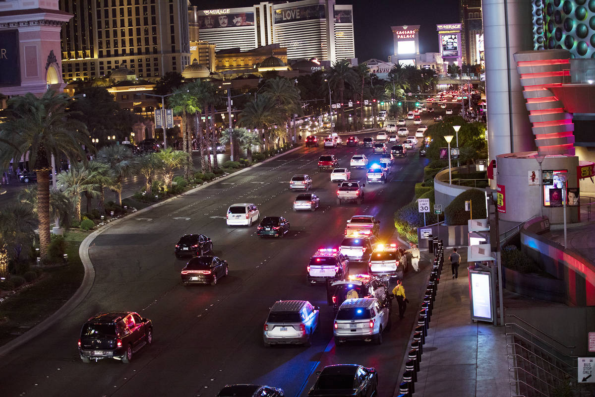 The scene on the Strip where a man was shot at the Miracle Miles shops in Las Vegas, Sunday, Oc ...