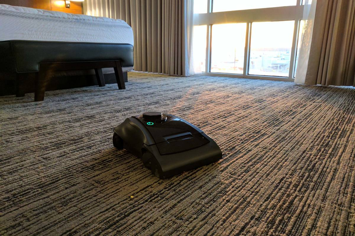 The latest version of the cleaning robot Rosie cleaning a hallway in a branded hotel in Texas i ...