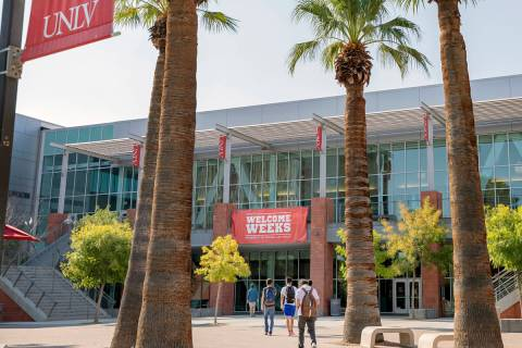 Students are seen outside of the Student Union at UNLV in Las Vegas on Thursday morning, Aug. 2 ...