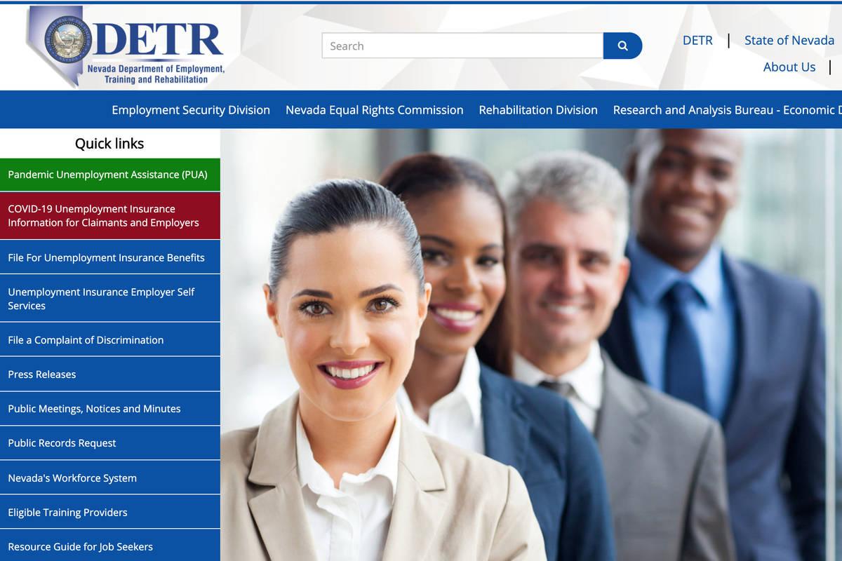 A screenshot of Nevada Department of Employment, Training and Rehabilitation's website. (DETR) .