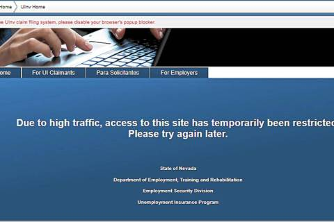 A screen shot taken of the Nevada unemployment website on Tuesday, April 14, 2020.