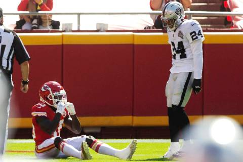 Las Vegas Raiders strong safety Johnathan Abram (24) looks over Kansas City Chiefs wide receive ...