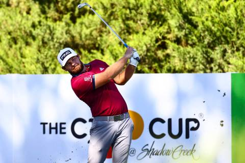 Tyrrell Hatton tees off at the fifth hole during the first round of the CJ Cup golf tournament ...