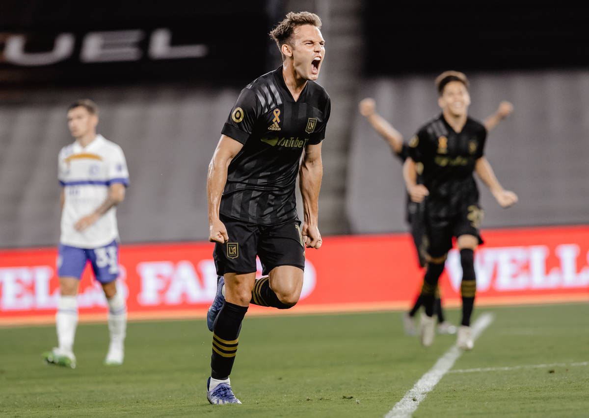 Former Liberty High and UNLV star Danny Musovski scored two goals and added as assist in Los An ...