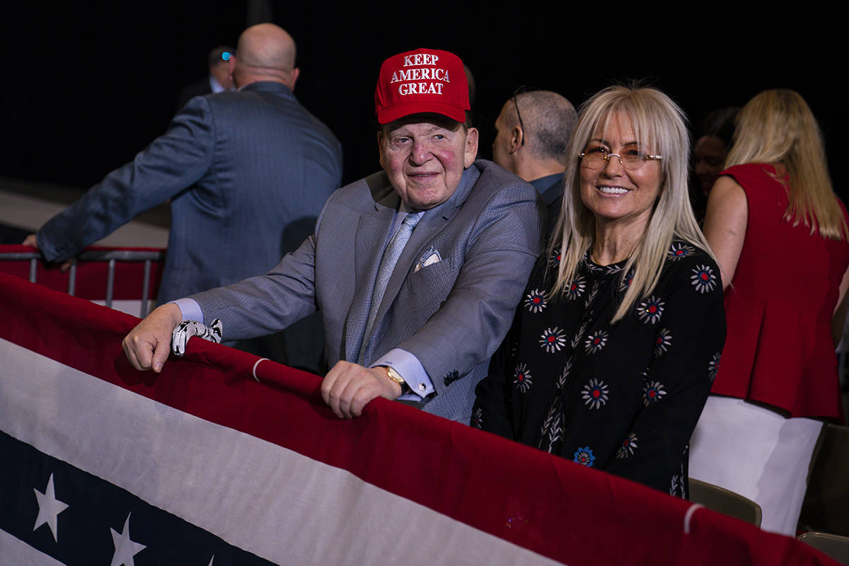 In this Feb. 21, 2020, file photo Sheldon Adelson waits for the arrival of President Donald Tru ...