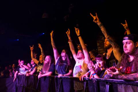 Fans cheer as Wolvhammer performs at Vinyl during the Psycho Las Vegas music festival at the Ha ...