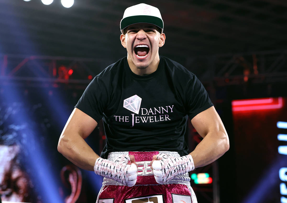 Edgar Berlanga celebrates after his first-round knockout over Lanell Bellows on Saturday, Oct. ...