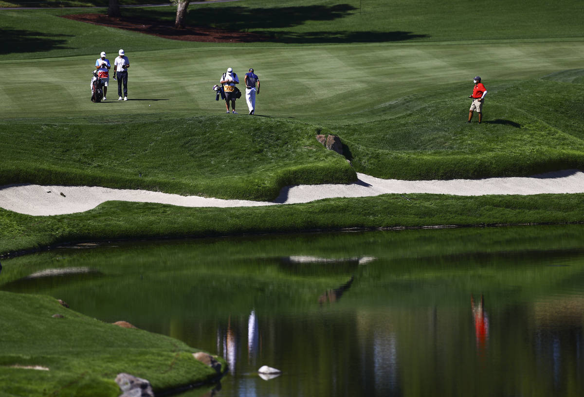 Golf players wait to head to the fourth green during the third round of the CJ Cup at the Shado ...