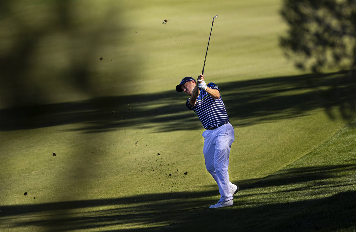 Justin Thomas hits a fairway shot at the 12th hole during the third round of the CJ Cup at the ...
