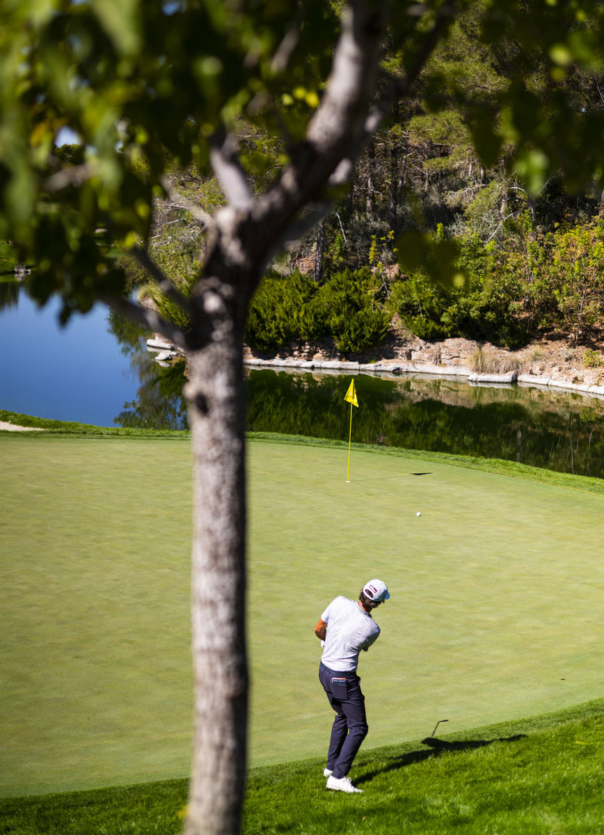 Lanto Griffin chips to the fourth green during the third round of the CJ Cup at the Shadow Cree ...