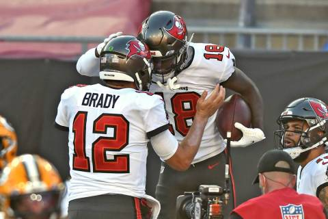Tampa Bay Buccaneers wide receiver Tyler Johnson (18) celebrates with quarterback Tom Brady (12 ...