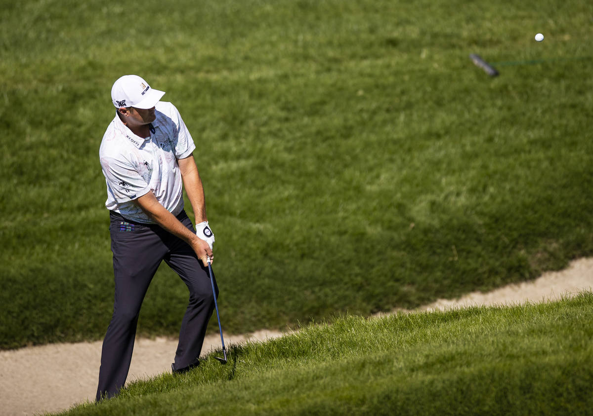 Jason Kokrak chips onto the seventh green during the final round of the CJ Cup at the Shadow Cr ...