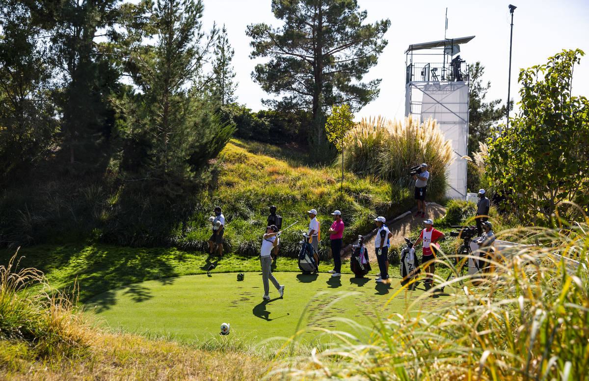 Joaquin Niemann tees off at the eighth hole during the final round of the CJ Cup at the Shadow ...
