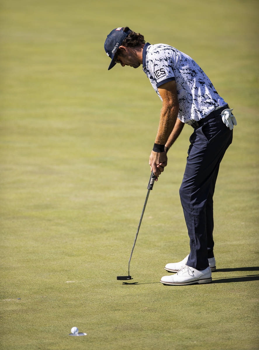 Lanto Griffin sinks a putt on the fourth green during the final round of the CJ Cup at the Shad ...