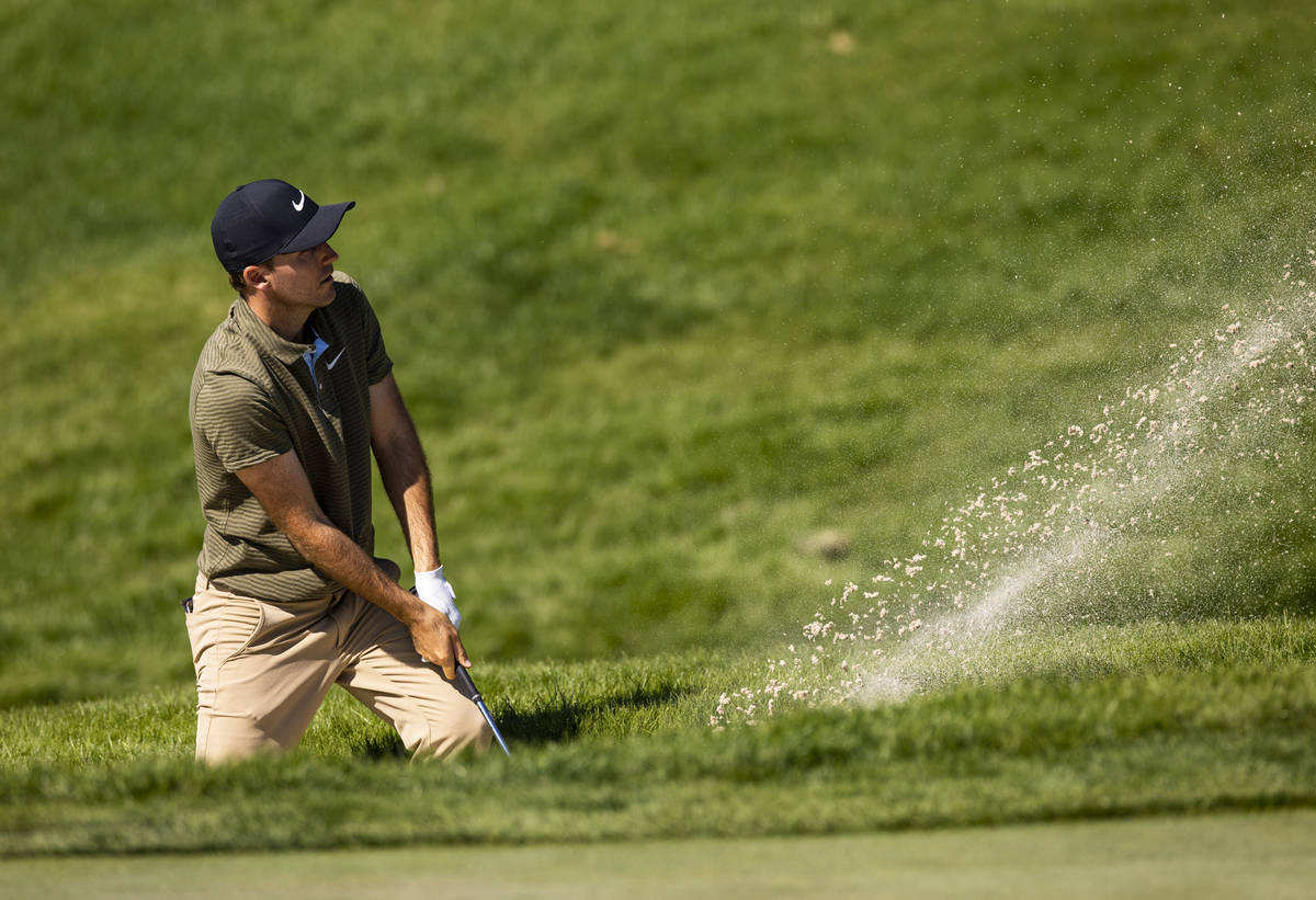 Russell Henley hits out of the bunker onto the seventh green during the final round of the CJ C ...