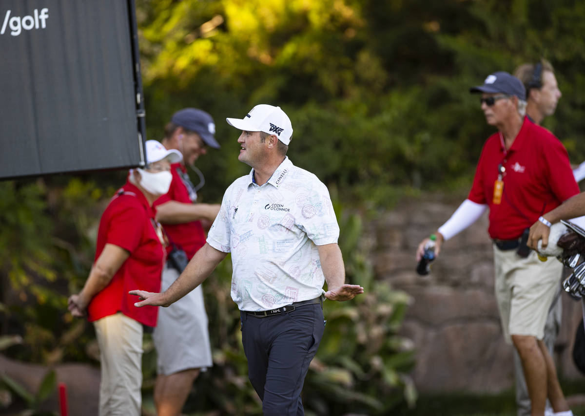 Jason Kokrak reactsʡfter completing the final round of the CJ Cup at the Shadow Creek Gol ...
