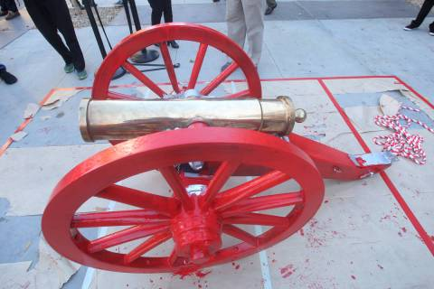 The Fremont Cannon is displayed after being painted red outside of the Student Union at UNLV on ...