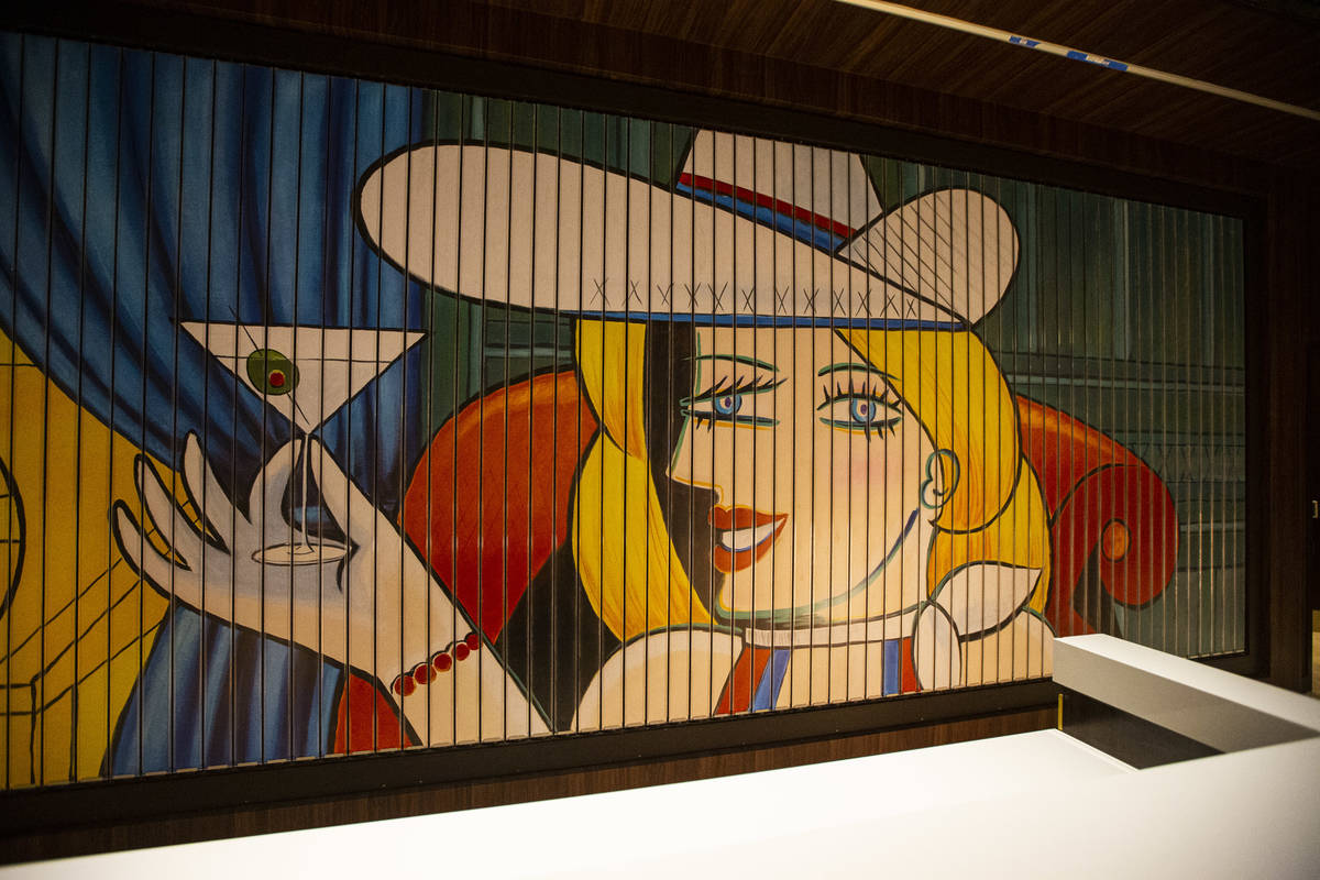 A Picasso-esque rendition of Vegas Vickie by local artist Jelaine Faunce is seen at the registr ...