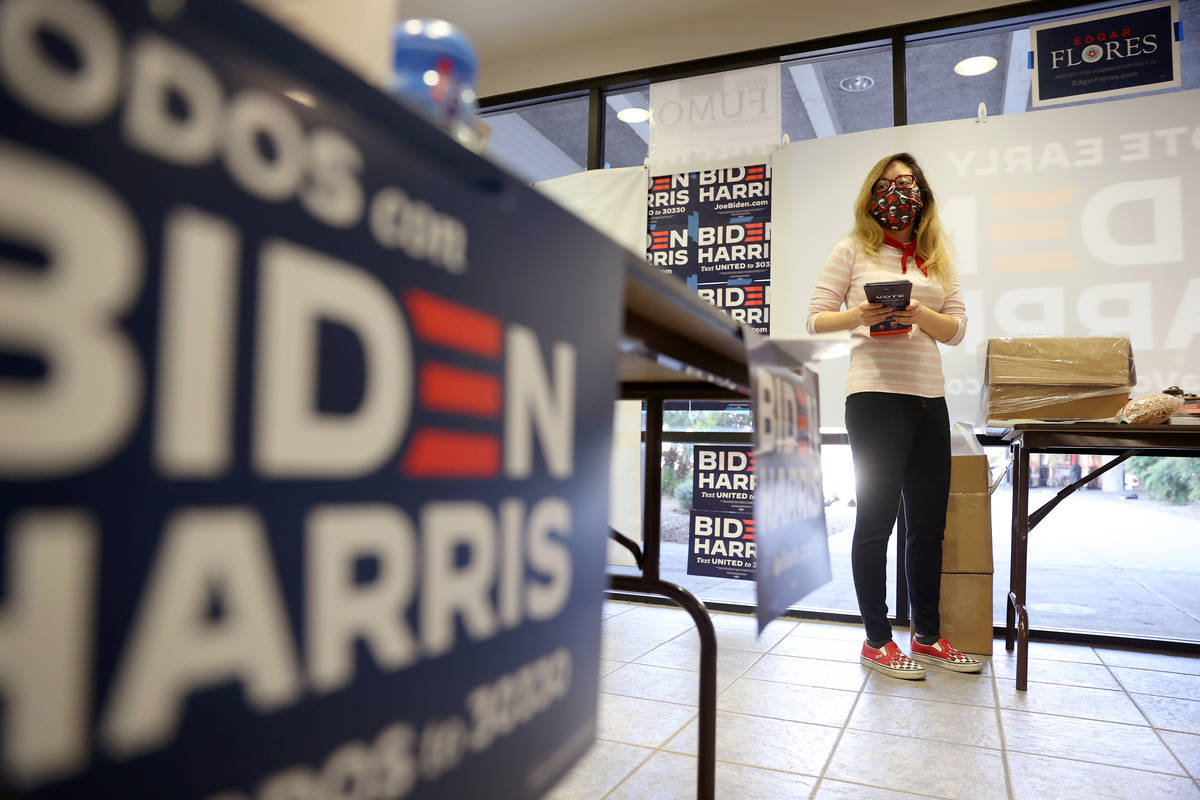 Voting Activation Director Jessa James works at the NV Dems east Las Vegas office in Las Vegas, ...