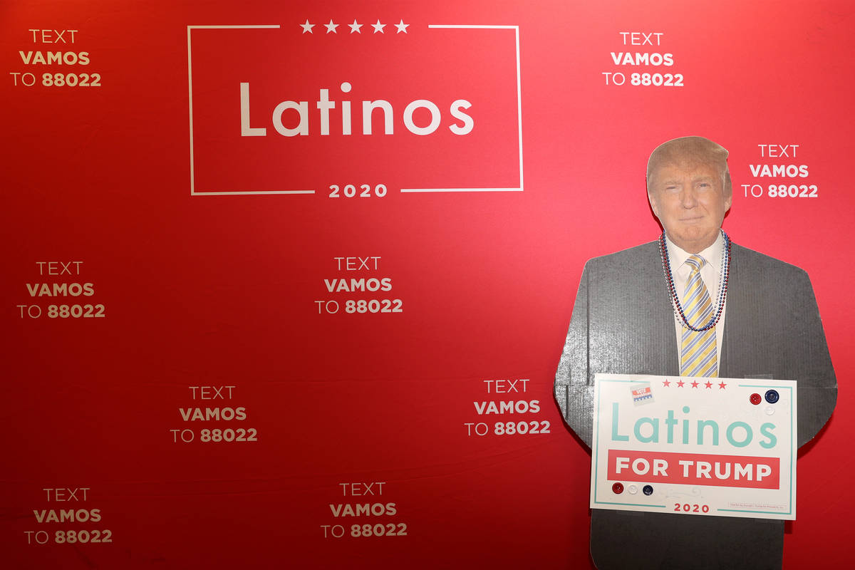 A cutout of President Donald J. Trump is seen during a phone banking event at the Latinos for T ...