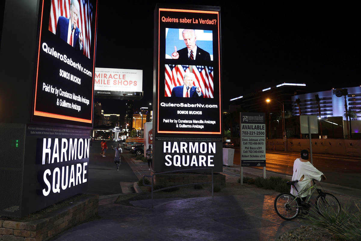 A digital billboard in support of the reelection of President Donald J. Trump is seen at Hamon ...