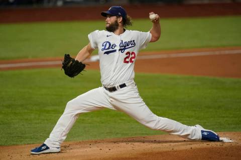Los Angeles Dodgers starting pitcher Clayton Kershaw throws against the Tampa Bay Rays during t ...