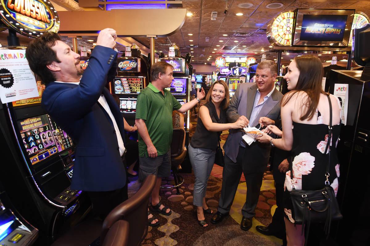 From left, Lorena Amaya, co-owner and CEO of Desert Rock Enterprises Derek Stevens and Sarah Ca ...