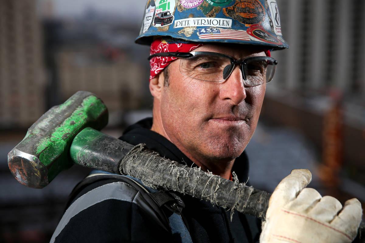 Journeyman iron worker Peter Vermolen at the Circa construction site in downtown Las Vegas Boul ...