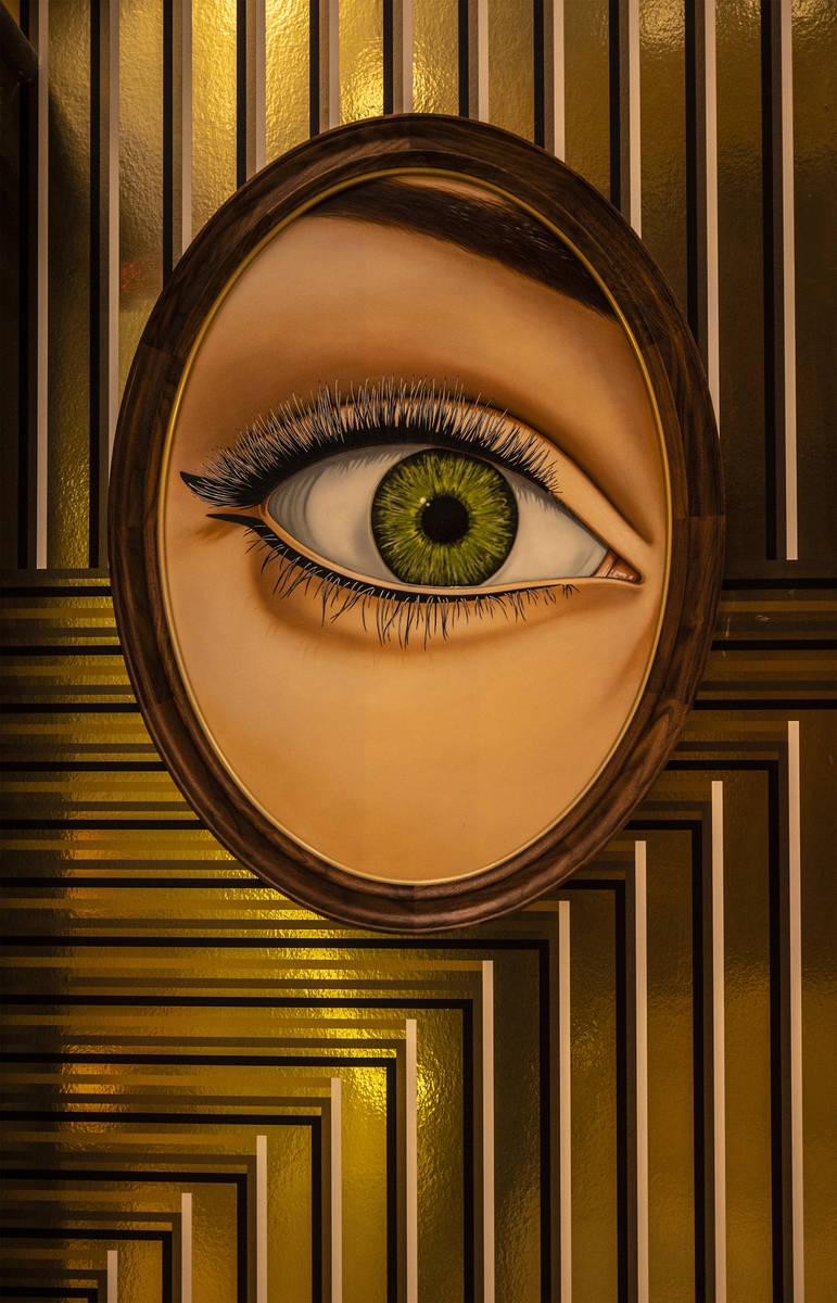 Modern art work lines the walls at Circa on Monday, Oct. 19, 2020, in Las Vegas. (Benjamin Hage ...