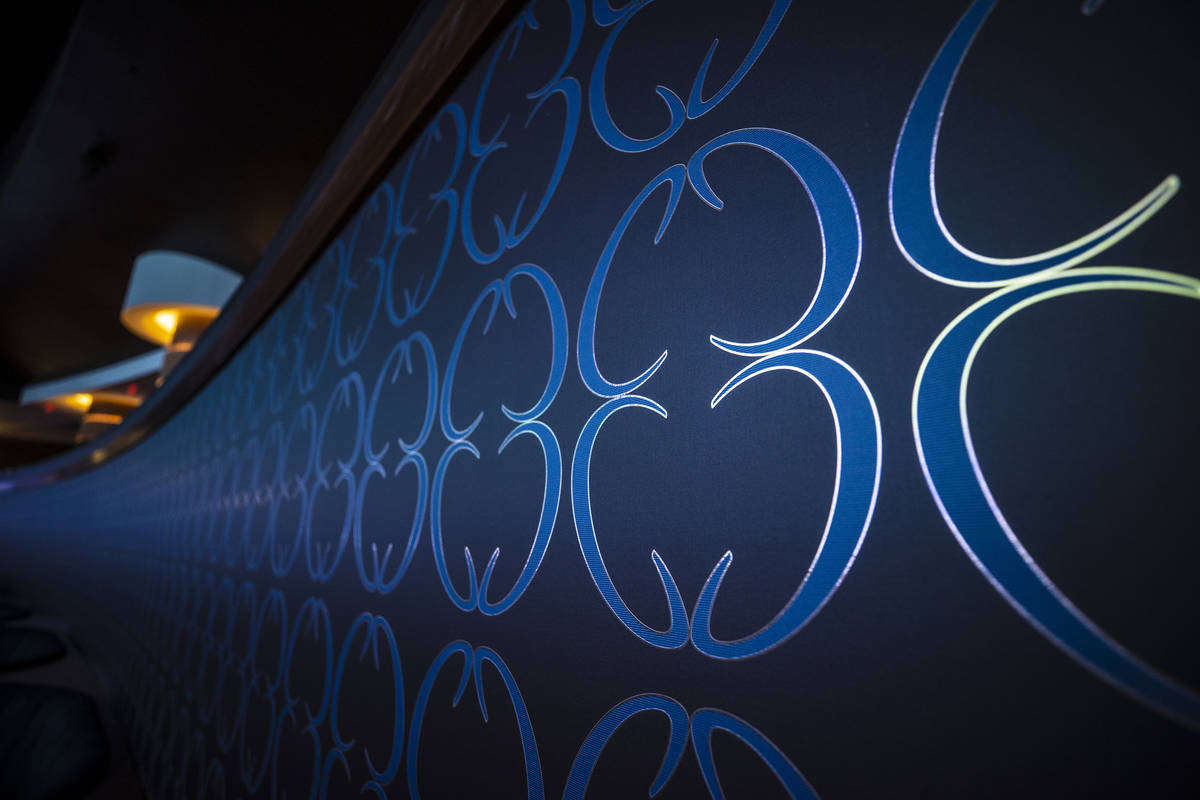 Mirror images of the Circa logo line the walls of the sports book on Monday, Oct. 19, 2020, at ...