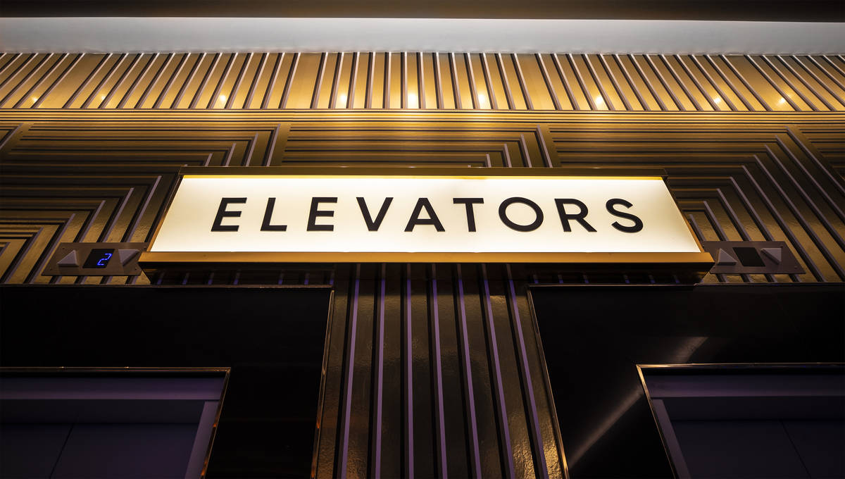 Elevators leading to guest floors at Circa on Monday, Oct. 19, 2020, in Las Vegas. (Benjamin Ha ...