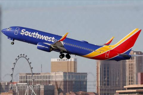 A Southwest Airlines plane takes off from McCarran International Airport in Las Vegas, Feb. 27, ...