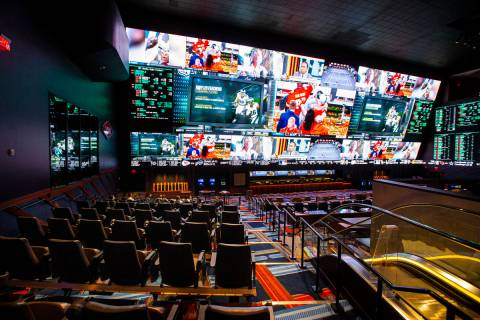 A view of the Circa Sportsbook during a tour of Circa, the first from-the-ground-up casino buil ...