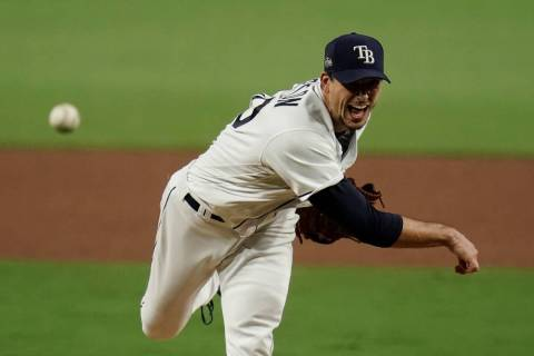 Tampa Bay Rays starting pitcher Charlie Morton throws against the Houston Astros during the six ...