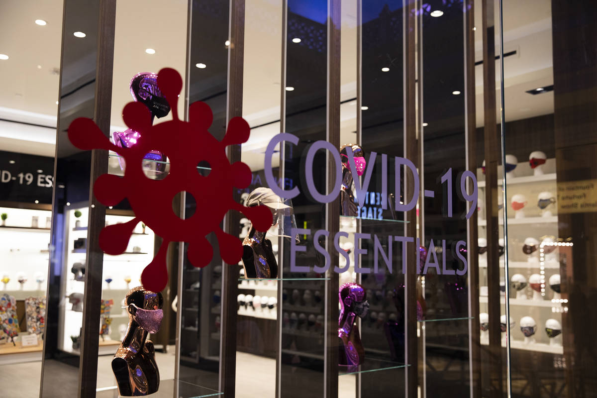 The COVID-19 Essentials store in the Forum Shops at Caesars Palace in Las Vegas, Monday, Oct. 2 ...