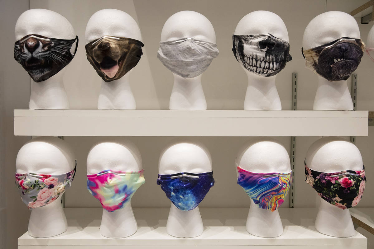 Masks for sale at the COVID-19 Essentials store in the Forum Shops at Caesars Palace in Las Veg ...