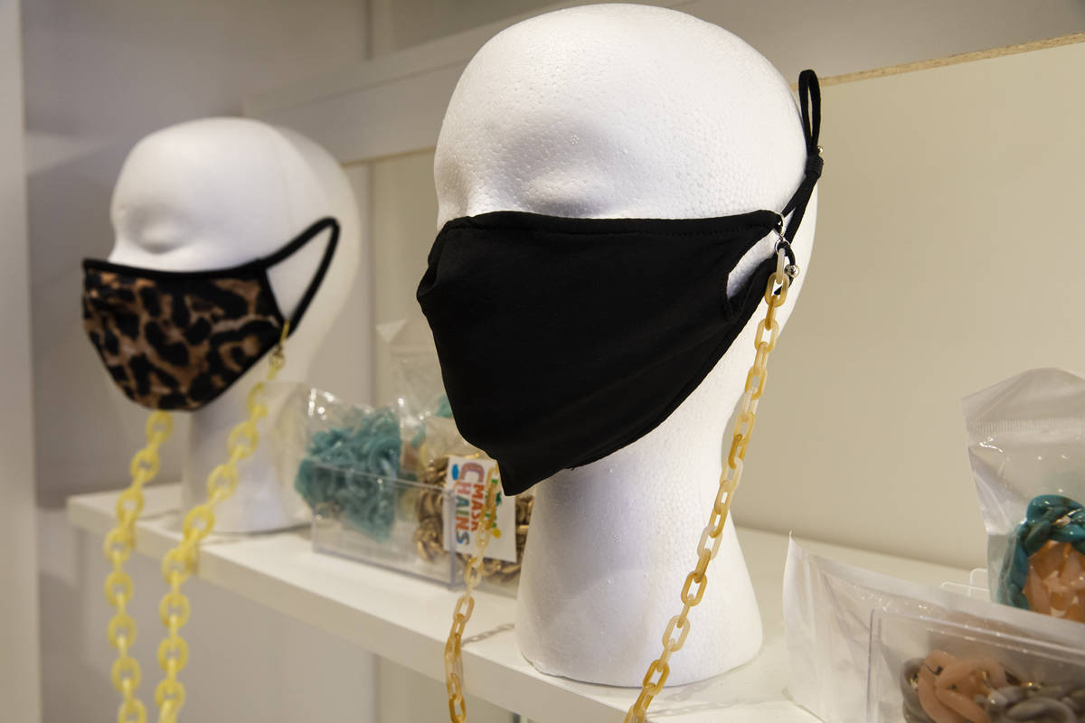 Mask chains for sale at the COVID-19 Essentials store in the Forum Shops at Caesars Palace in L ...