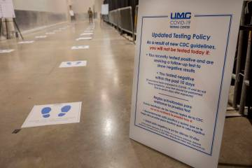 An updated testing policy is seen during a preview of COVID-19 testing site inside Cashman Cent ...
