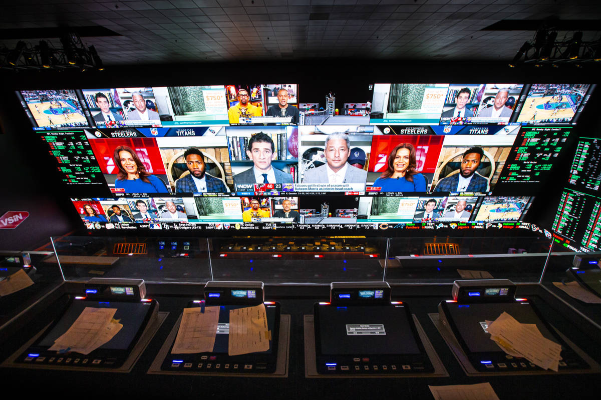 A view of the Circa Sportsbook from the second level during a tour of Circa, the first from-the ...