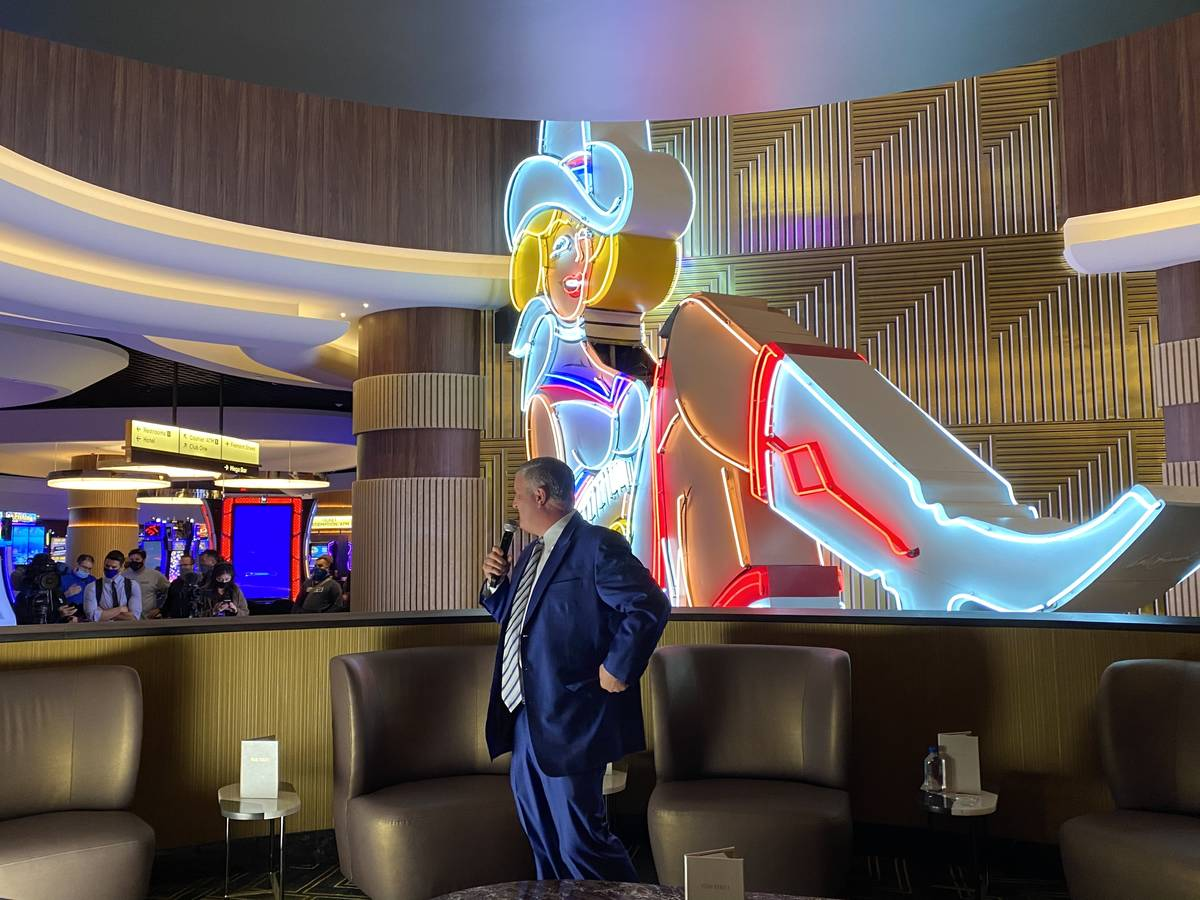 Circa co-owner Derek Stevens is shown with the Vegas Vickie sign at the new resort on Tuesday, ...