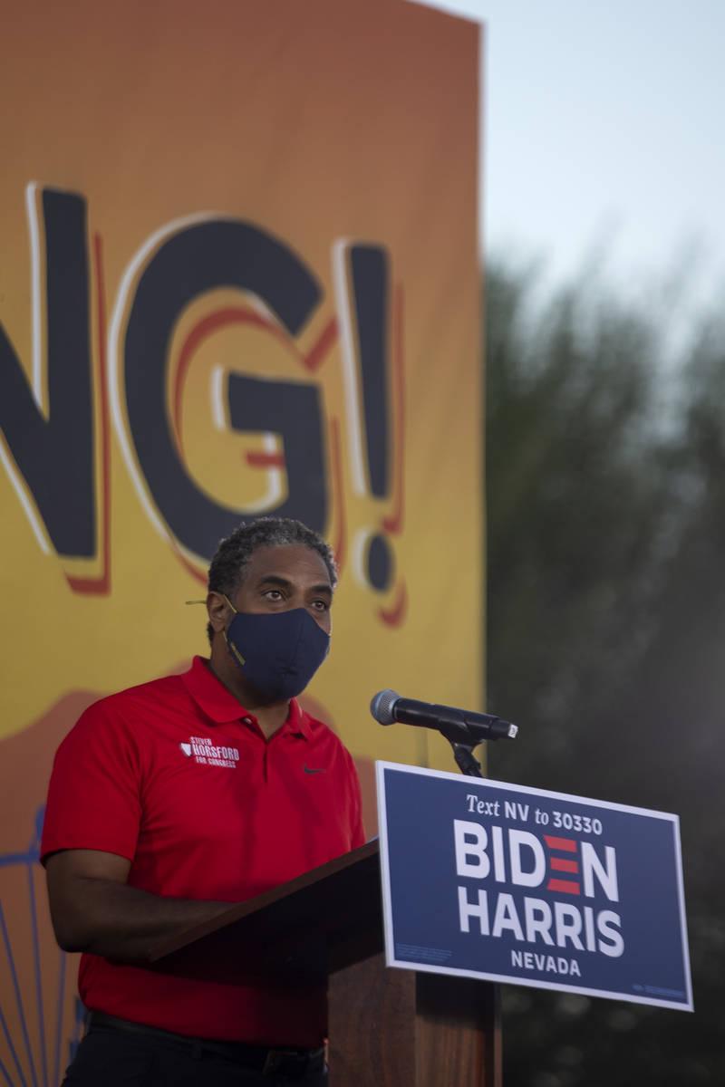 Rep. Steven Horsford, D-Nev., speaks ahead of vice presidential candidate Sen. Kamala Harris du ...